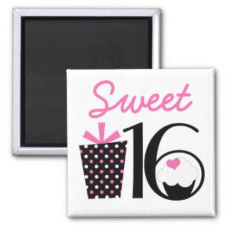 Cute Sweet 16 Cupcake and Pink Polkadot Gift Refrigerator Magnet
