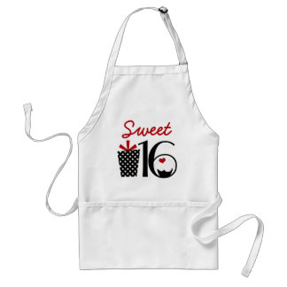 Cute Sweet 16 Cupcake and Polkadot Present Adult Apron