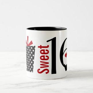 Cute Sweet 16 Cupcake and Polkadot Present Two-Tone Coffee Mug