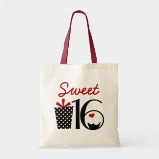 Cute Sweet 16 Cupcake and Polkadot Present Tote Bag
