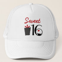 Cute Sweet 16 Cupcake and Polkadot Present Trucker Hat