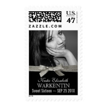 Cute Sweet 16 Photo with Silver Glitter Ribbon Postage
