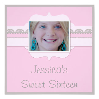Cute Sweet 16 Pink & Grey Add Your Photo Card
