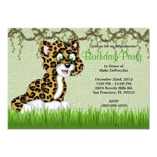 CUTE Sweet Baby Cheetah Vines Jungle Birthday 5x7 Paper Invitation Card