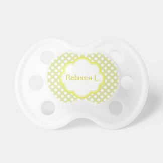 Cute sweet baby girl name, daycare pacifier, lime BooginHead pacifier