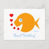 Cute Sweet Beach Wedding Save The Date Postcard postcard