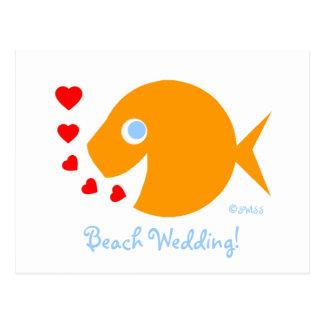 Cute Sweet Beach Wedding Save The Date Postcard