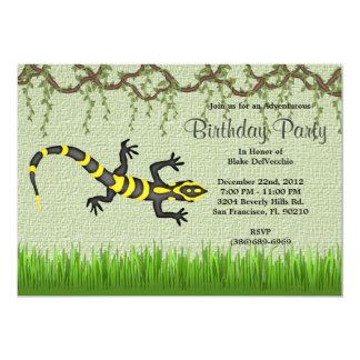 CUTE Sweet Black Lizard Vines Jungle Birthday Card