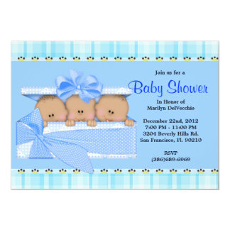 CUTE Sweet Blue Triplets Baby Shower Personalized Announcements