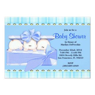 CUTE Sweet Blue Triplets Baby Shower Custom Announcements