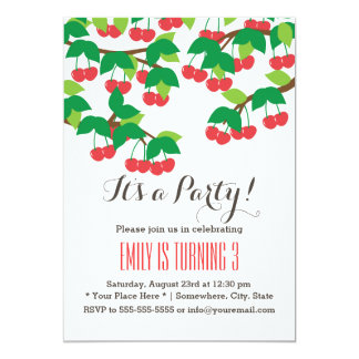 Cute Sweet Cherries Birthday Party Invitations