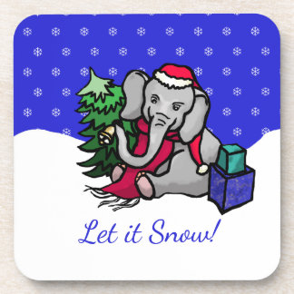 Cute Sweet Christmas Santa Elephant Let It Snow Drink Coaster