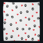 """Cute sweet clear black paw red heart pattern bandana<br><div class=""""desc"""">Cute design featuring black paws and red hearts. Perfect for the animal lover.</div>"""