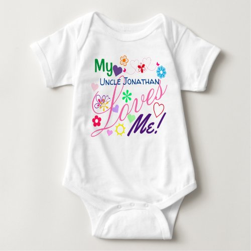 Cute Sweet Colorful Girly My Uncle Loves Me Baby Bodysuit