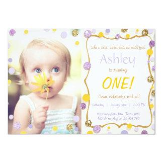 Cute sweet Confetti Birthday Invitation Photo
