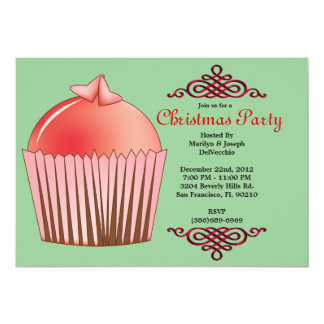 CUTE Sweet Cupcake With Red Border Christmas Holid Card