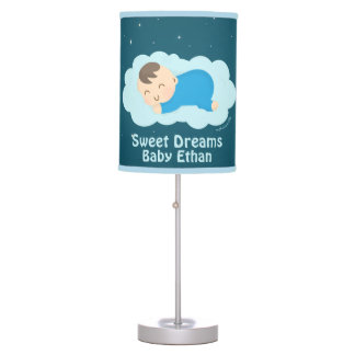 Cute Sweet Dreams Sleeping Baby Boy Room Decor Table Lamp