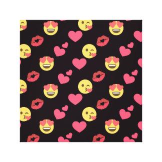cute sweet emoji love hearts kiss lips pattern canvas print