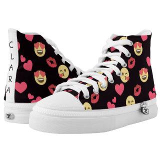 cute sweet emoji love hearts kiss lips pattern High-Top sneakers