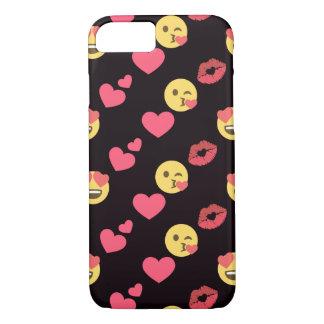 cute sweet emoji love hearts kiss lips pattern iPhone 8/7 case