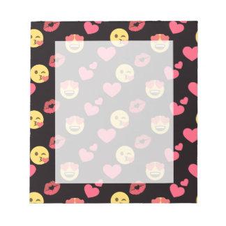 cute sweet emoji love hearts kiss lips pattern notepad