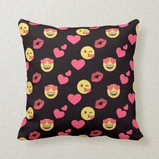 cute sweet emoji love hearts kiss lips pattern throw pillow