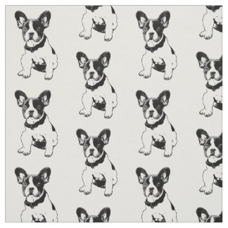 Cute Sweet French Bulldog Puppy + Your BG Color Fabric