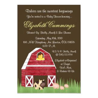 Cute Sweet Fun Farm Animals Baby Shower Invite
