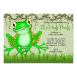 CUTE Sweet Green Frog Vines Jungle Birthday Personalized Announcement