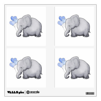 Cute Sweet Heart Balloon Elephant Nursery Wall Decal