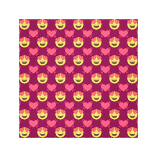 Cute Sweet In Love Emoji, Hearts pattern Canvas Print