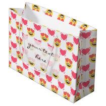 Cute Sweet In Love Emoji, Hearts pattern Large Gift Bag