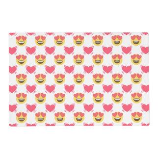 Cute Sweet In Love Emoji, Hearts pattern Placemat