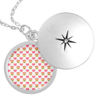 Cute Sweet In Love Emoji, Hearts pattern Silver Plated Necklace