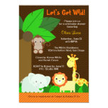 Cute Sweet Jungle Animals Baby Boy Baby Shower 5x7 Paper Invitation Card