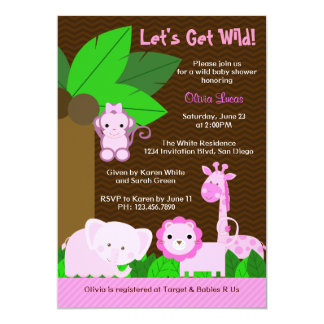 Cute Sweet Jungle Animals Baby Girl Baby Shower Personalized Announcement