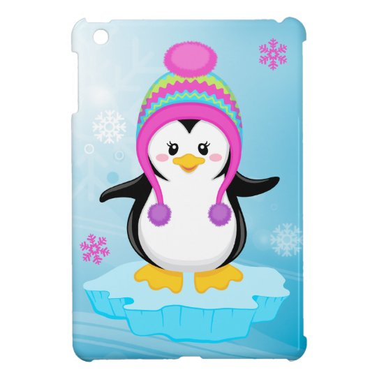 cute sweet little girl bundled up penguin cartoon case for ...