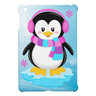 cute sweet little girl bundled up penguin cartoon cover for the iPad mini