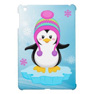 cute sweet little girl bundled up penguin cartoon iPad mini cover