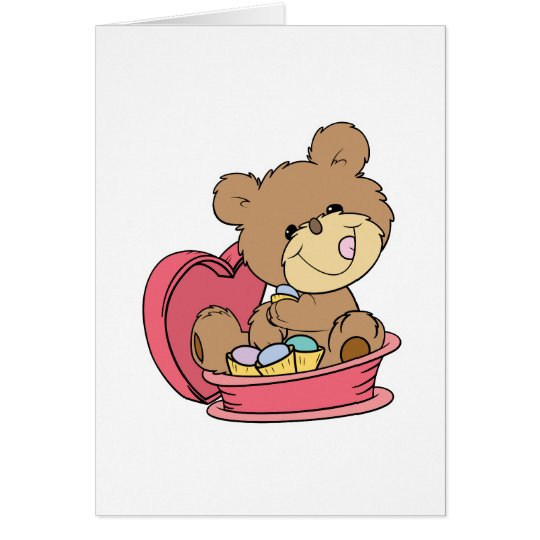 cute sweet little teddy bear eating valentine choc card