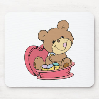 cute sweet little teddy bear eating valentine choc mouse pad
