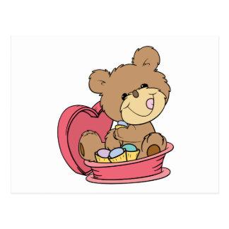 cute sweet little teddy bear eating valentine choc postcards