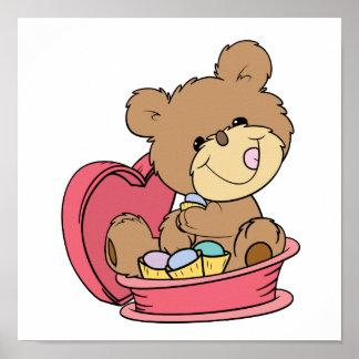 cute sweet little teddy bear eating valentine choc poster