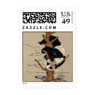 Cute Sweet Panda Bear Up A Tree Stamps Stamp