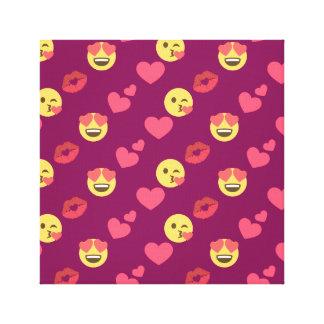 Cute Sweet Pink Emoji Love Hearts Kiss Pattern Canvas Print