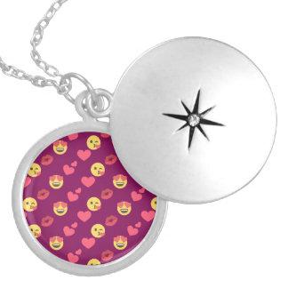 Cute Sweet Pink Emoji Love Hearts Kiss Pattern Locket Necklace
