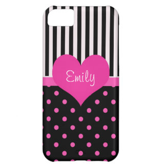 Cute, sweet pink polka dots with name cover for iPhone 5C
