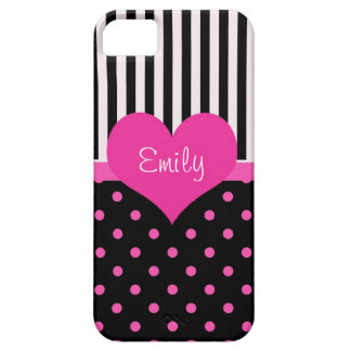 Cute, sweet pink polka dots with name iPhone 5 cases