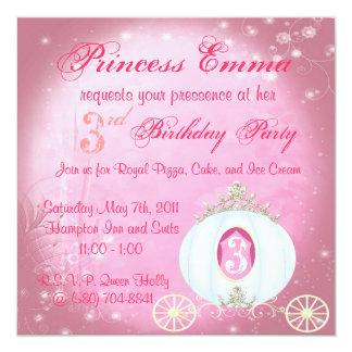 Cute Sweet Pink Princess Birthday Party Invitation