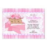CUTE Sweet PINK Twins Baby Shower Invitation